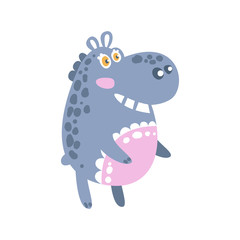 Cute cartoon Hippo character standing, side view vector Illustration