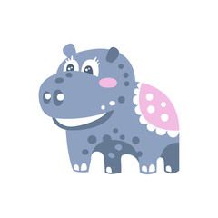 Cute cartoon Hippo character standing on four legs vector Illustration