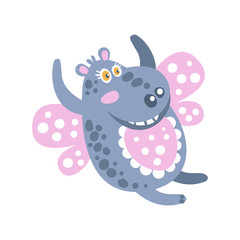 Cute cartoon smiling Hippo character flying like a butterfly vector Illustration
