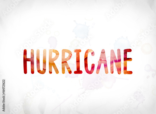 Hurricane Concept Painted Watercolor Word Art