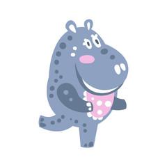 Cute cartoon Hippo character running vector Illustration