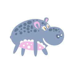Cute smiling cartoon Hippo character posing vector Illustration