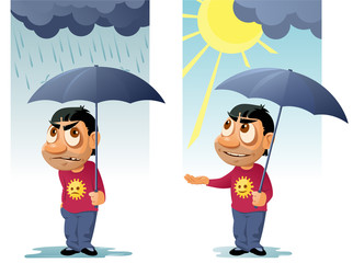 Funny man with umbrella. The rain was over and the sun came out from behind the clouds. Cartoon styled vector illustration. Elements is grouped. No transparent objects.