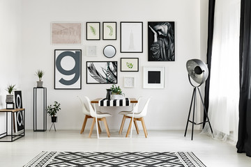 Black and white dining space