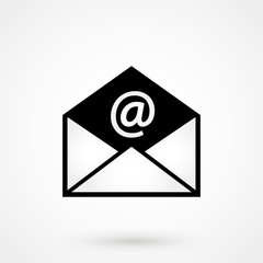 email black icon with shadow. technology background