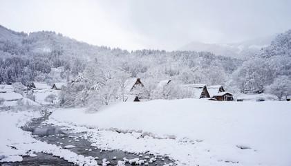 Winter at Shirakawa-go village in Gifu, Japan