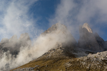 Dolomite Alps, mountain tops in the clouds
