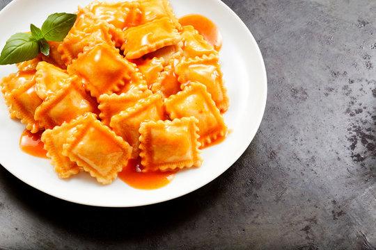 Fresh homemade Italian ravioli pasta