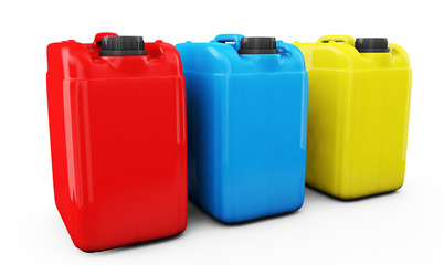 Red Blue and yellow jerrycan isolated on white background 3d render