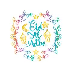 Eid al-Adha handwritten lettering with floral frame.