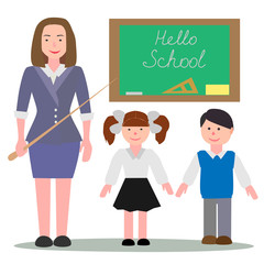 Vector flat illustration isolated on white background of happy pupils, with young woman teacher in a classroom near blackboard, hello school.