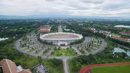 Arial view Grandstand in 700th Anniversary Sport Stadium at Chiang Mai, Thailand