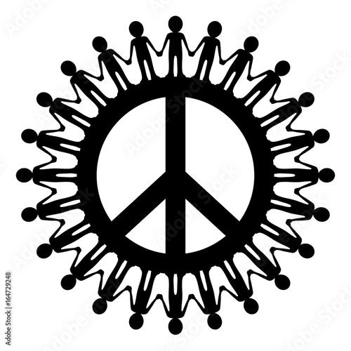 Friedenszeichen Mit Menschenkette Gezeichnet Schwarz Weiß Vektor