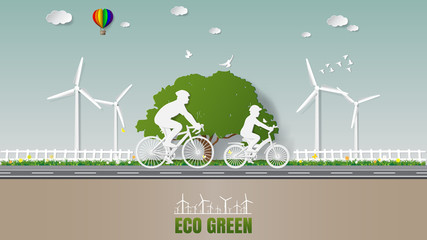 Paper folding art origami style vector illustration. Green renewable energy eco power saving environmentally friendly concepts, father and son are riding bicycle in nature which full of wind turbine.
