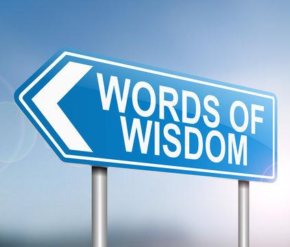 Words of wisdom concept.