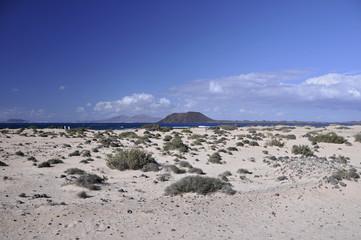 Playa de Corralejo, Blick auf Insel Lanzarote, Fuerteventura, Kanarische Inseln, Spanien - AS