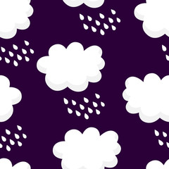 Nature pattern with white clouds and raindrops on black background. Ornament for children's textiles and wrapping. Vector.