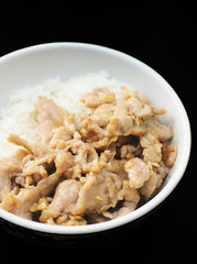 pepper pork rice with black background