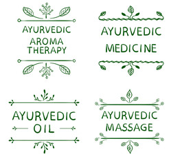 AYURVEDIC AROMETHERAPY, MEDICINE, OIL, MASSAGE. Set of typographyc VECTOR elements, hand drawn letters. Green lines