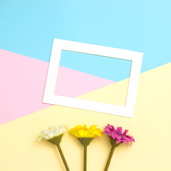 Empty frame and flowers flat lay on pastel background with copy space. Soft effect filter. Minimal concept.