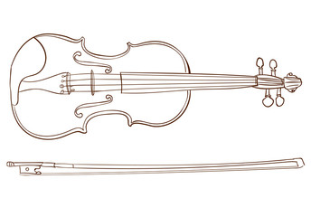 Violin detailed sketch, outline. VECTOR illustration