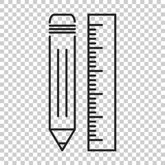 Pencil with ruler icon. Ruler meter vector illustration.
