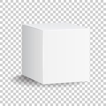 Blank white carton 3d box icon. Box package mockup vector illustration.