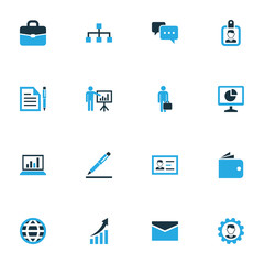 Trade Colorful Icons Set. Collection Of Authentication, Contract, Badge And Other Elements. Also Includes Symbols Such As Network, Engineer, Analytics.
