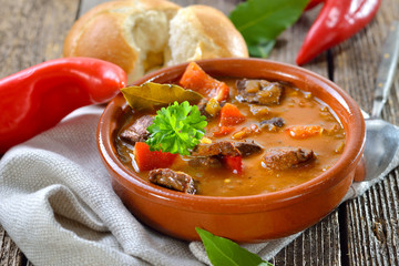 Deftige Hausmannskost: Pikante ungarische Gulaschsuppe, in Ungarn Gulyas genannt, in der Keramikschale rustikal serviert – Hot Hungarian goulash soup served in a ceramic bowl with a fresh roll