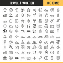 Travel and vacation icon set. Vector illustration.