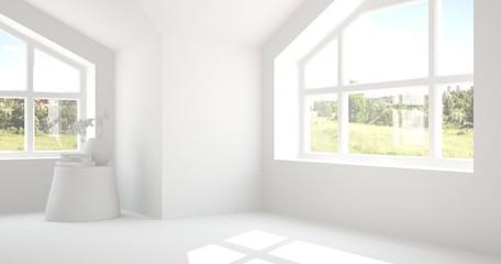 White empty room with summer landscape in window. Scandinavian interior design. 3D illustration