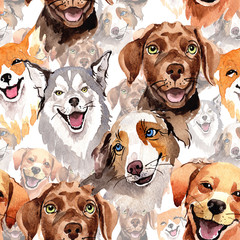 Exotic dog wild animal pattern in a watercolor style. Full name of the animal: dogs. Aquarelle wild animal for background, texture, wrapper pattern or tattoo.