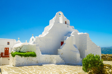 Mykonos island, Cyclades, Greece. Panagia Paraportiani Church in Mykonos. A beautiful old white chapel.