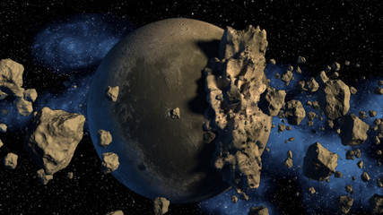 3D Rendering of an asteroids field next to a moon-like planetary object.