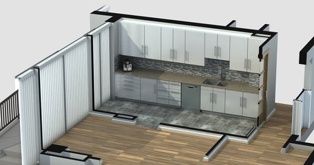 3D Rendering of a furnished residential apartment kitchen, showing generic cabinets and appliances.