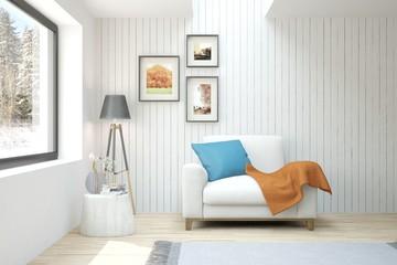 Idea of white modern room with armchair. Scandinavian interior design. 3D illustration