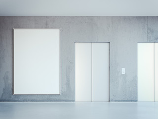 Blank white banner and two elevators. 3d rendering