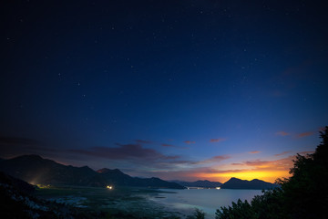 Some stars in the night with beautiful mountain before the sunrise at the Podgorica, Montenegro.