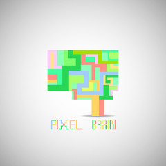 Pixel colorful vector brain