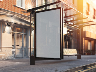 Bus station with blank banner on a street. 3d rendering