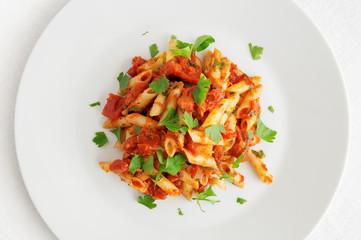 pasta with olive oil, tomato, onion, garlic, oregano, and parsley