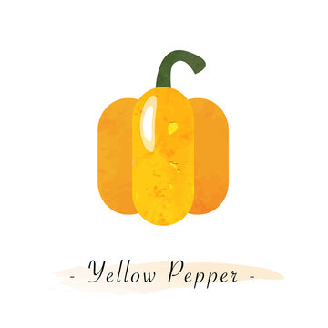 Colorful watercolor texture vector healthy vegetable yellow pepper