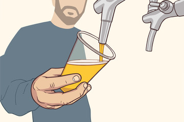 Illustration of man with beard pouring draft beer in vintage colors