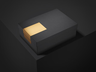 Black box with golden sticker. 3d rendering