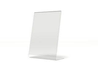 Transparent desk display. 3d rendering
