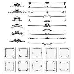 set of design elements, frames, dividers, borders. Vector illustration for design of pages.