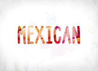 Mexican Concept Painted Watercolor Word Art