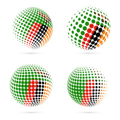 Zambia halftone flag set patriotic vector design. 3D halftone sphere in Zambia national flag colors isolated on white background.