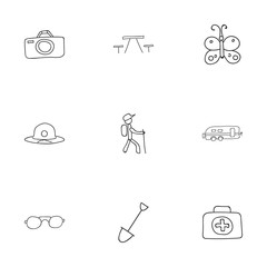 Set Of 9 Editable Camping Doodles. Includes Symbols Such As Photographing, Medical Kit, Shovel And More. Can Be Used For Web, Mobile, UI And Infographic Design.