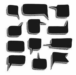 Message frame-a cloud, white background, vector. Flat, black rectangle with a 3D effect.